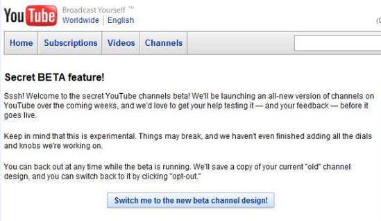 YouTube channels 2.0 beta