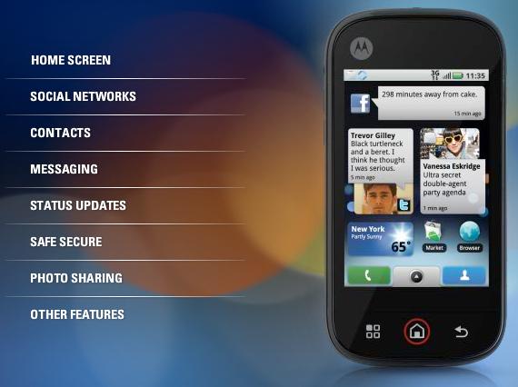 Motorola DEXT MOTOBLUR UI
