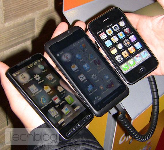 HTC HD2 Toshiba TG01 iPhone 3GS
