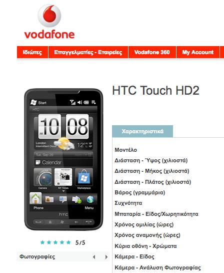 Vodafone HTC HD2
