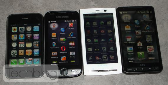 XPERIA X10 HTC HD2 Omnia II iPhone 3GS
