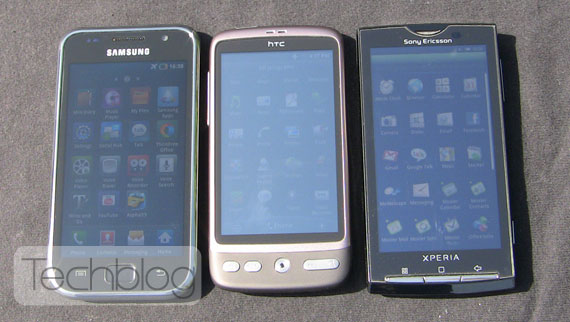 Galaxy S HTC Desire XPERIA X10