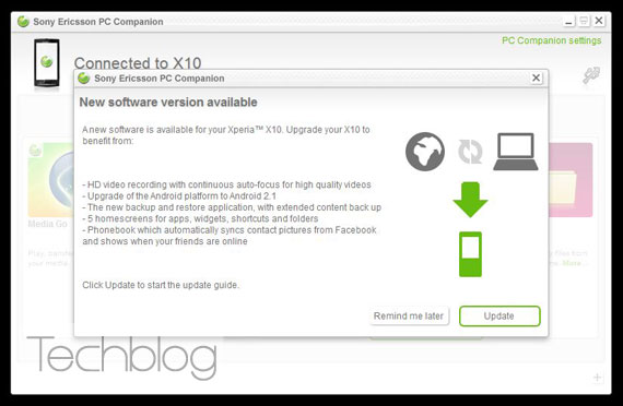 XPERIA X10 Android 2.1 PC Companion