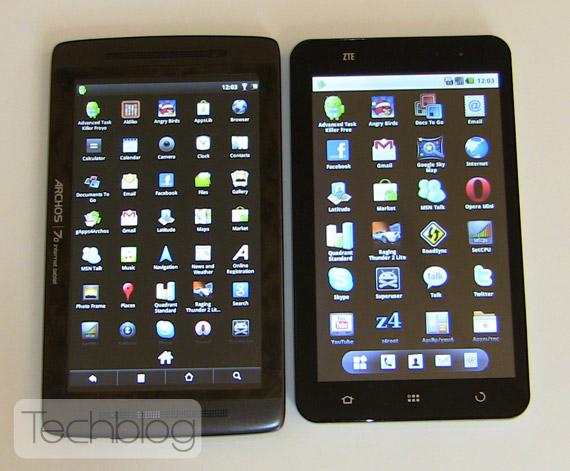 Archos 70 vs ZTE V9 Techblog.gr
