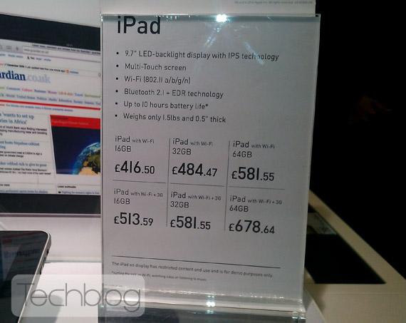 iPad prices England