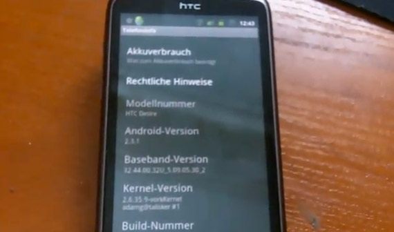 HTC Desire Android Gingerbread