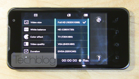 LG Optimus 2X Full HD video settings