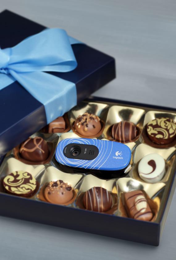 Logitech blue webcam chocolates