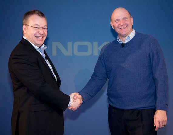 Stephen Elop Nokia President and CEO and Steve Ballmer Microsoft CEO