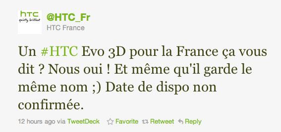 HTC France tweet status EVO 3D