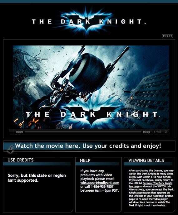 The Dark Knight rent Facebook
