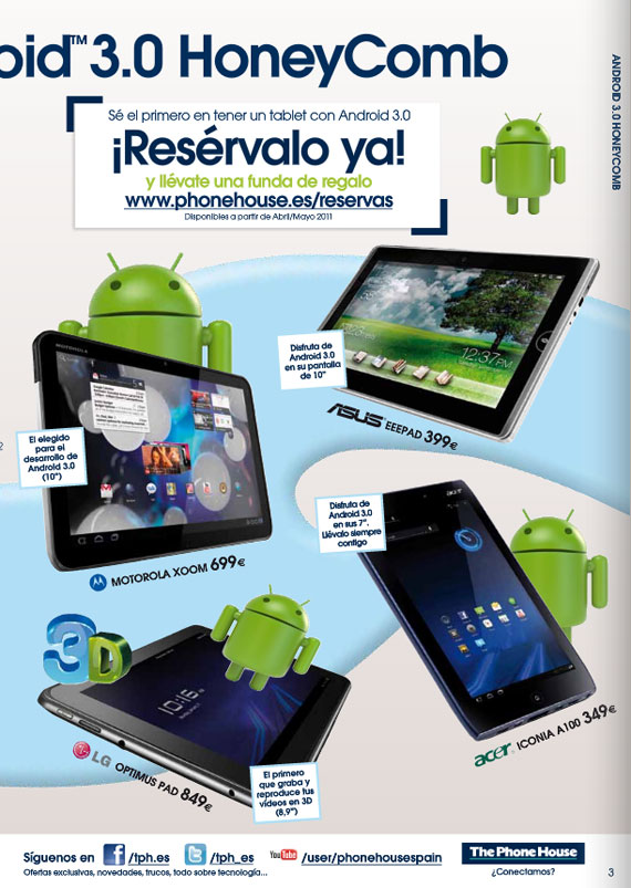 Euro Prices for 4 android tablets
