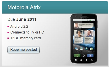 Motorola Atrix June Uk