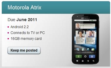 Motorola Atrix June Uk