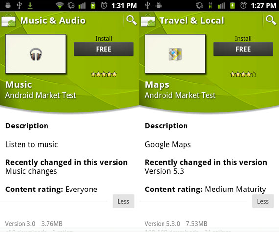 Android Market Test Rating