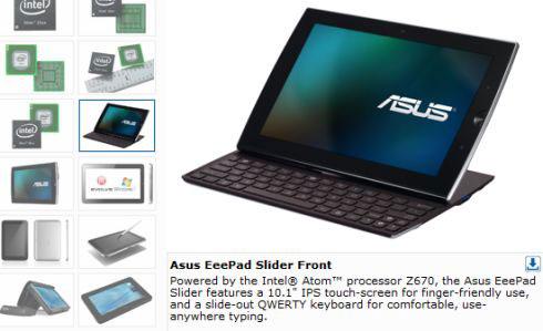 Asus Eee Pad Slider tablet