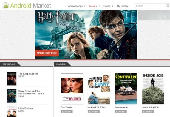 Android Market movie rentals