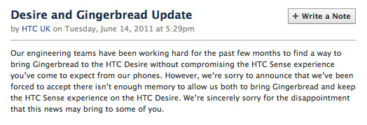 HTC Desire no Android 2.3 update