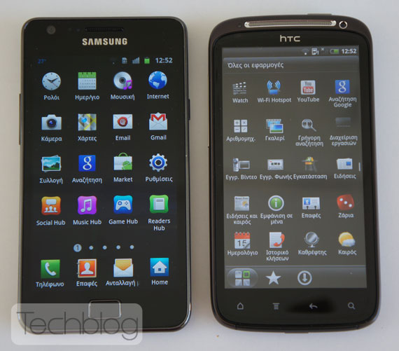 HTC Sensation vs Samsung Galaxy S II Techblog.gr