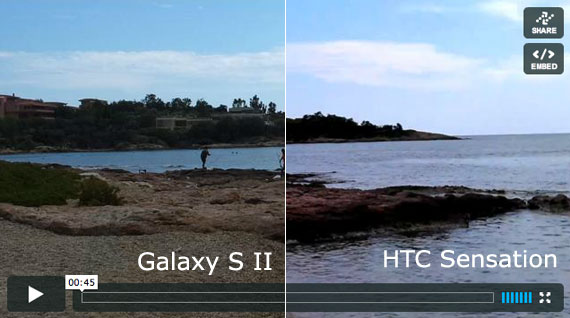 Samsung Galaxy S II vs HTC Sensation video sample 1920x1080 pixels Full HD