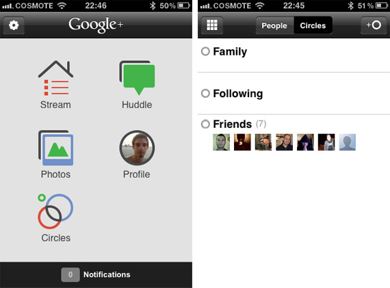 Google+ iPhone application