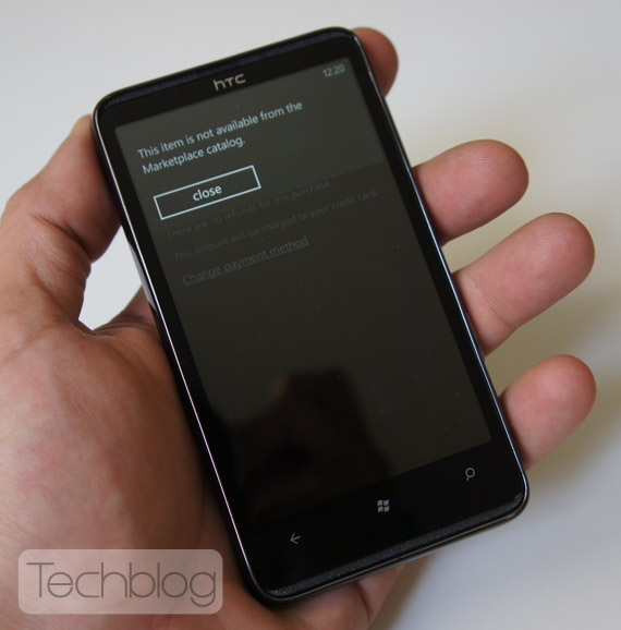 HTC HD7 Windows Phone Marketplace
