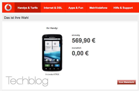 Motorola Atrix Vodafone