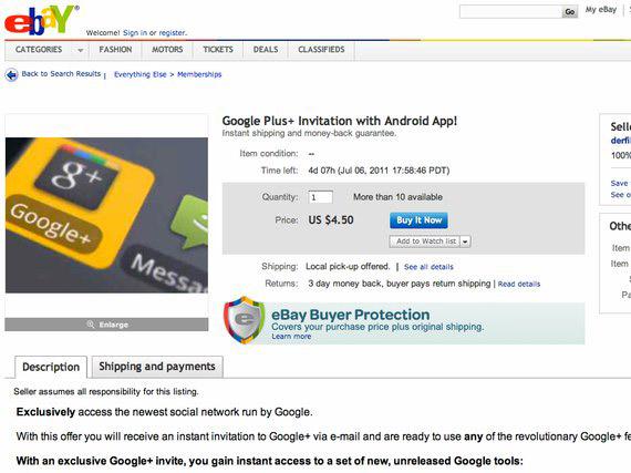 eBay Google+ sell