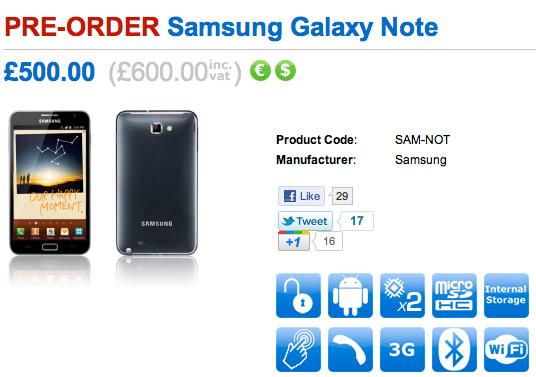 Samsung Galaxy Note, Ξεκίνησαν οι προ-παραγγελίες [τιμή στα 700 ευρώ]