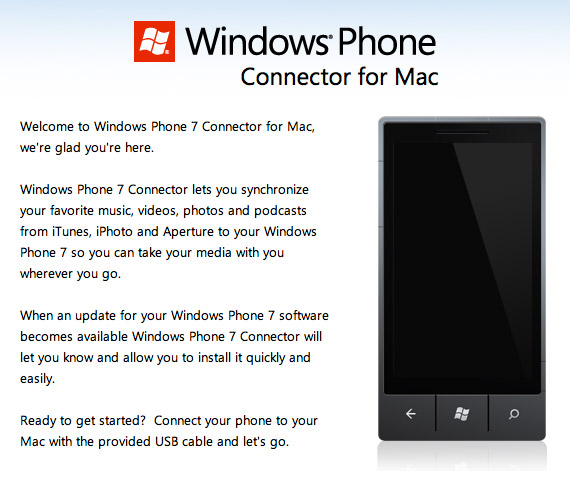 Windows Phone 7 Connector for Mac, Update για υποστήριξη Mango