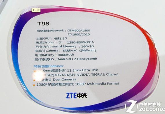 ZTE T98, Το πρώτο tablet με τον τετραπύρηνο NVIDIA Tegra 3 Kal-El