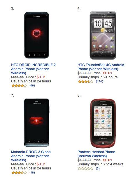 Amazon Wireless, Πουλάει 0.01 δολάρια όλα τα κινητά για να χτυπήσει το iPhone 4S