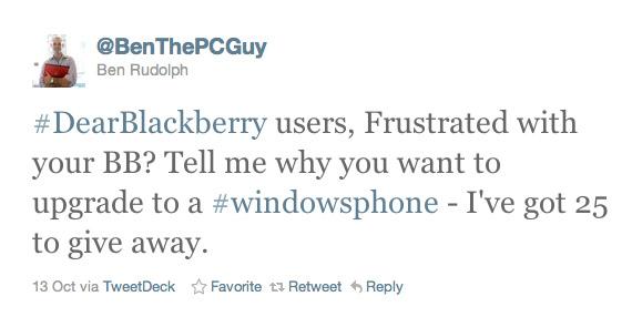 Δωρεάν Windows Phone κινητά στους δυσαρεστημένους κατόχους BlackBerry