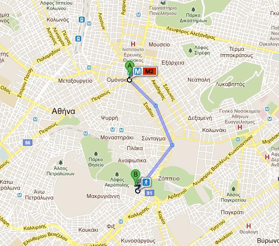Google Maps Me Plhrofories Transit Gia Thn A8hna