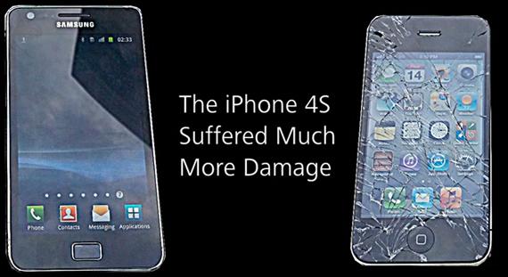 iPhone 4S vs. Samsung Galaxy S II, Ποιο σπάει δυσκολότερα αν πέσει κάτω