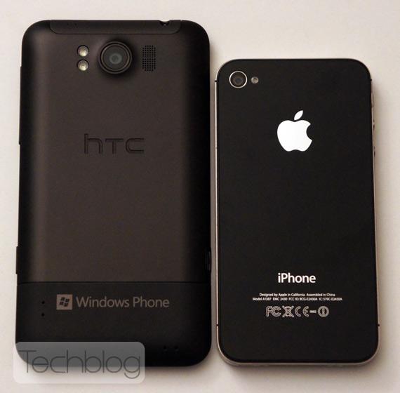 HTC Titan εναντίον iPhone 4S, Σύκγριση στο μέγεθος