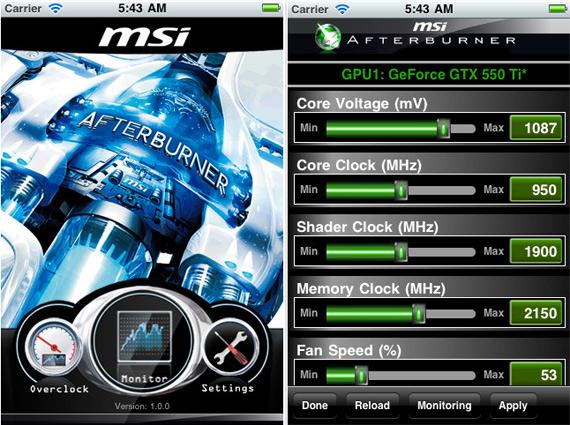 MSI Afterburner App, Εφαρμογή για έλεγχο της κάρτας γραφικών από το κινητό