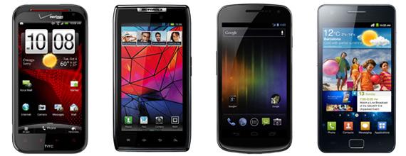 HTC Rezound εναντίον Motorola RAZR, Samsung Galaxy Nexus και Galaxy S II