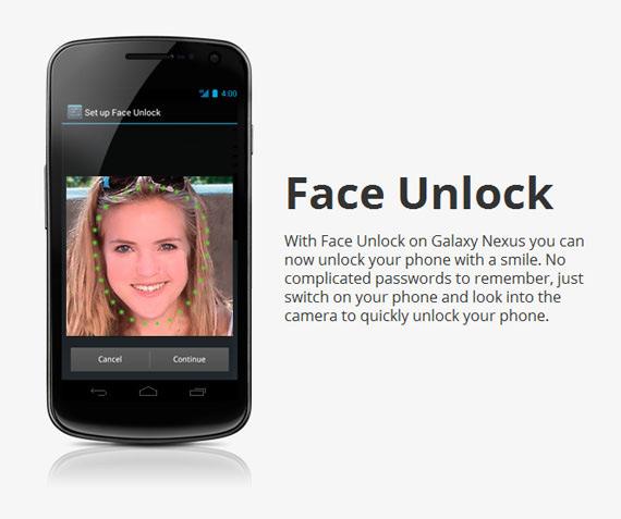 Galaxy Nexus, Η λειτουργία Face unlock την