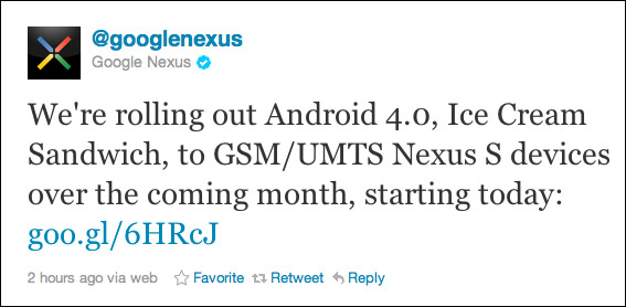 Google Nexus S, Ξεκίνησε η αναβάθμιση σε Ice Cream Sandwich