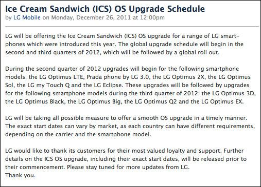 LG Optimus, Η αναβάθμιση σε Ice Cream Sandwich θα πιάσει καλοκαίρι 2012