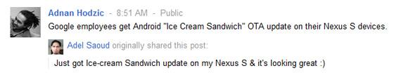Nexus S, Τυχεροί υπάλληλοι της Google τρώνε ήδη παγωτό
