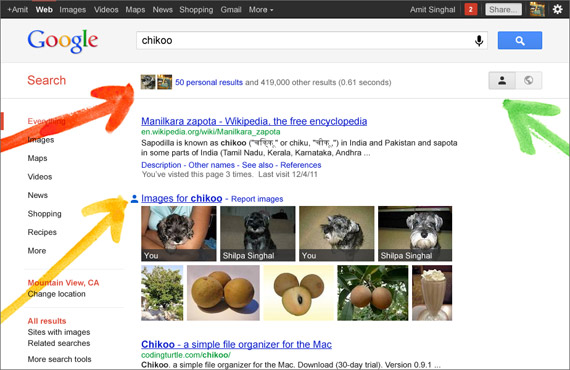Google Search Your World, Αποτελέσματα αναζήτησης μόνο για σένα