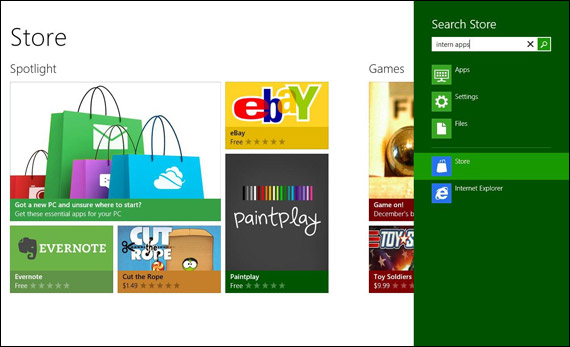 Windows 8 Store, Screenshots και βίντεο