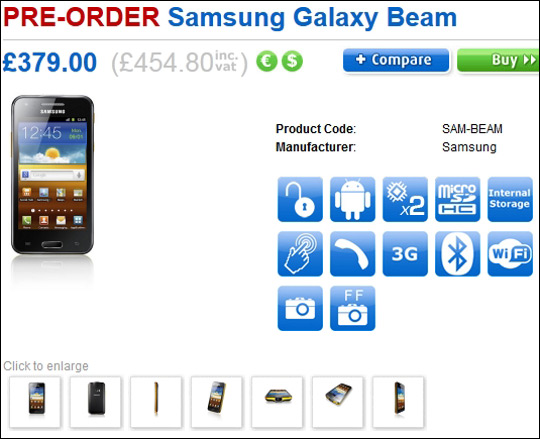 Samsung Galaxy Beam, Πρώτη τιμή 540 ευρώ [Clove UK]