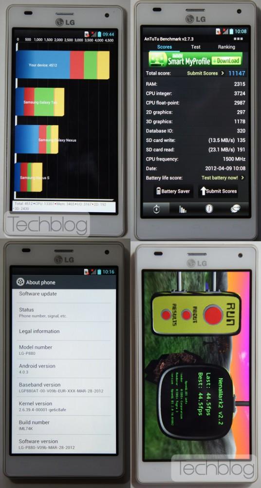 LG Optimus 4X HD, Τετραπύρηνα benchmarks