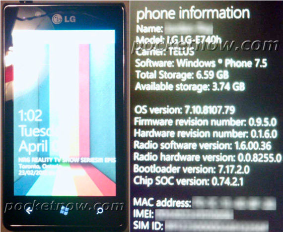 LG Miracle E740 με Windows Phone