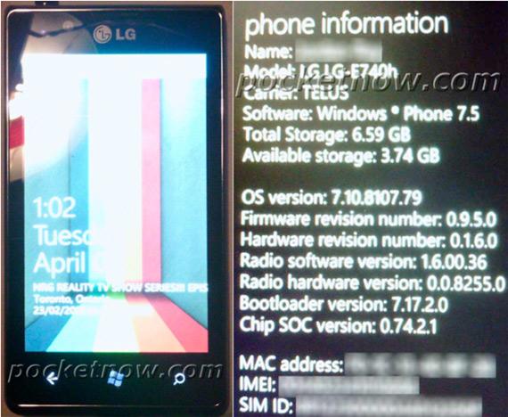 LG Miracle E740 με Windows Phone