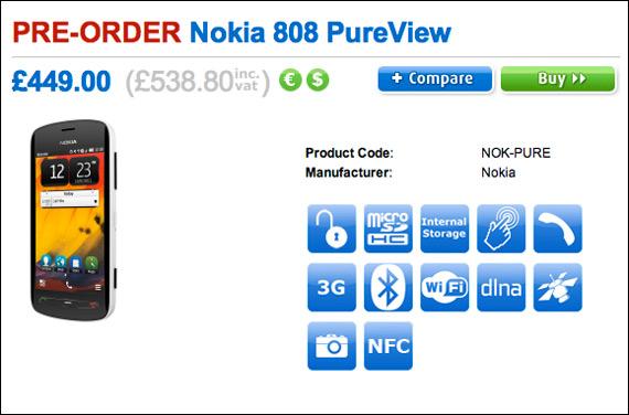 Nokia 808 Pure View, Πρώτη ενδεικτική τιμή 650 ευρώ στην Αγγλία