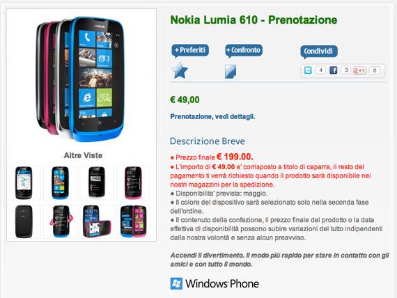 Nokia Lumia 610, Πρώτη ενδεικτική τιμή 199 ευρώ στην Ιταλία